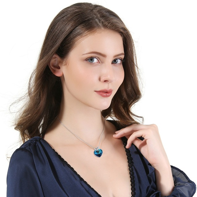 Warme Farben Crystal from Swarovski Women Necklace Fine Jewelry Blue Heart Crystal Pendant Necklace Valentine's day Gift 1