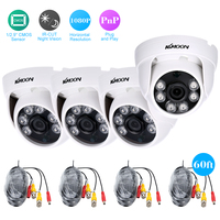 KKmoon 4*1080P 2000TVL AHD IR CCTV Camera + 4*60ft Surveillance Cable Support IR CUT Night Vision 6pcs Array Infrared Lamps
