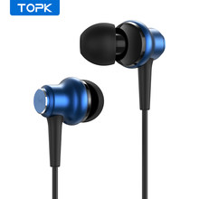 Topk 3.5mm com fio fones de ouvido baixo som in-ear esporte fones de ouvido esporte gaming headset com microfone para xiaomi huawei iphone mp3