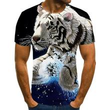 The new summer 2021 3D printed animal print T-shirt for men printed casual T-shirt with round neck and short sleeves