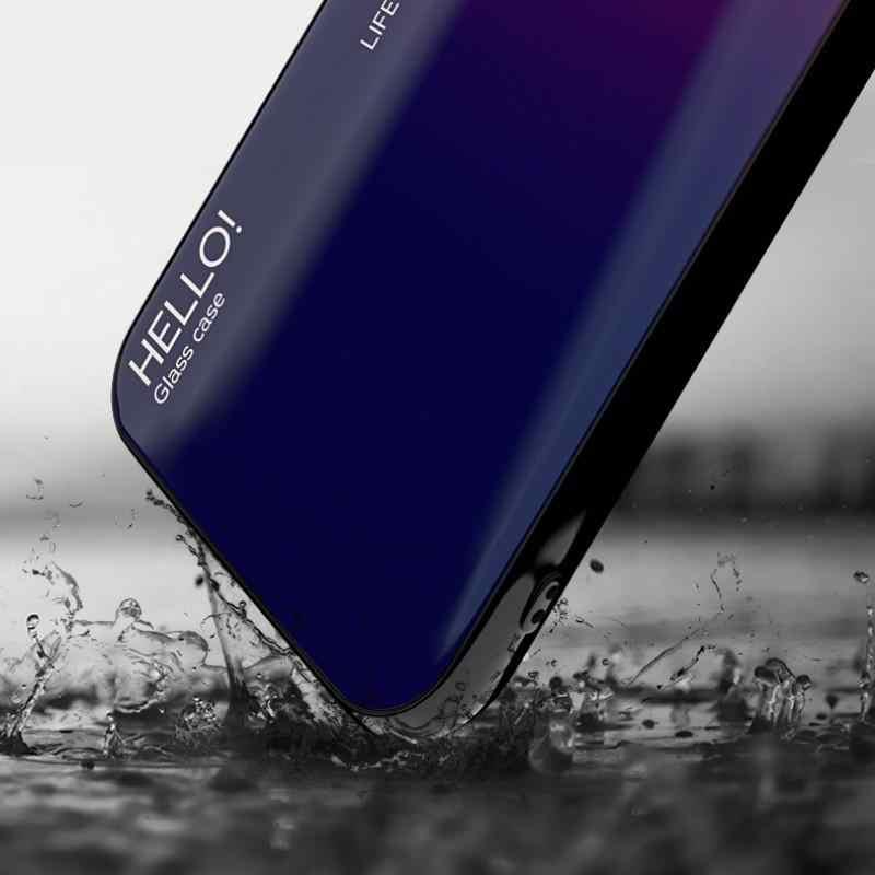 الفاخرة التدرج جراب هاتف على آيفون 6 6S زائد 7 8 زائد كوكه الزجاج المقسى غطاء حقيبة لهاتف أي فون X XR XS ماكس i الهاتف 6S 6