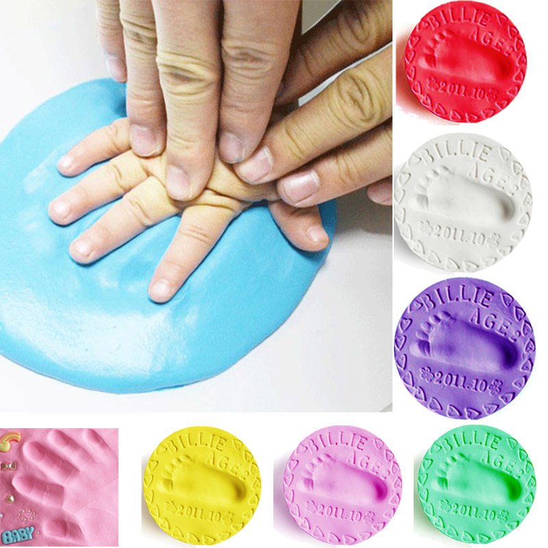 Baby Hand Foot Imprint Kit Casting DIY Toys Paw Print Pad Baby Care Air Drying Soft Clay Baby Footprint Ultra Light Stereo 50g