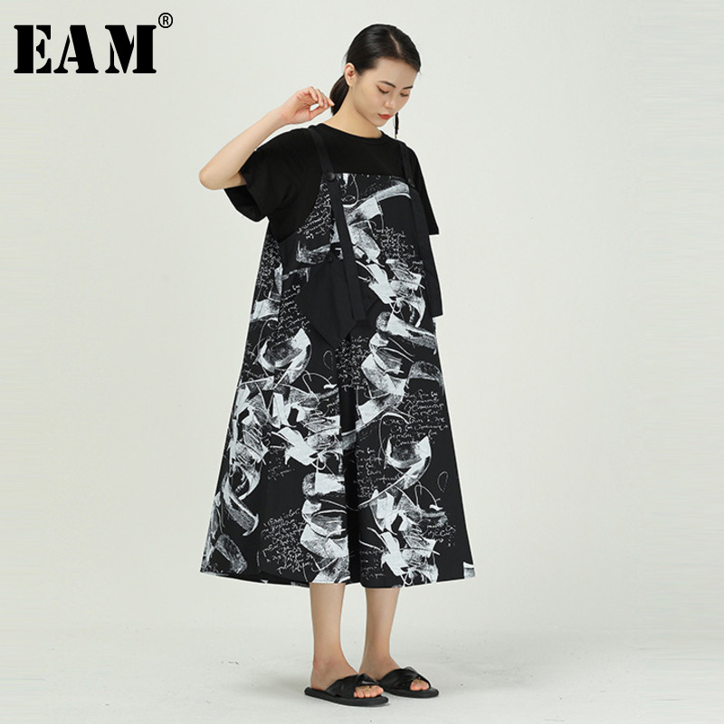 [EAM] Women Black Pattern Printed Stitch Long Strapless Dress New Sleeveless Loose Fit Fashion Tide Spring Summer 2020 1W072