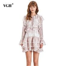 VGH Casual Print Hollow Out Women Dress High Waist O Neck Ru