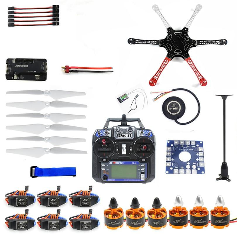 6six-axle hexacopter unmounted kit zangão gps com flysky FS-i6 6ch 2.4g tx & rx apm 2.8 controlador de vôo multicopter F10513-F