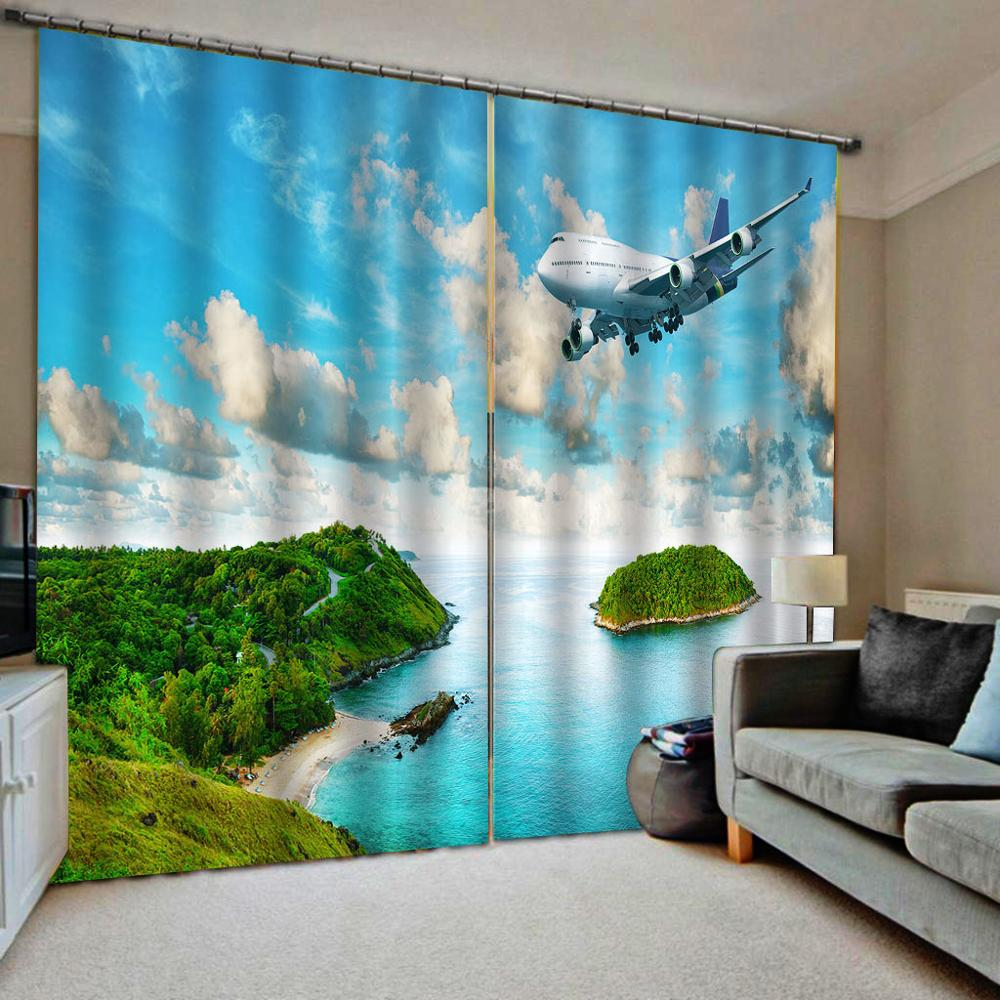 Modern 3D Curtains Sky Islands Scenery Curtains For Room Custom Fashion Bedroom Living Room Drapes Hotel Blinds Blackout