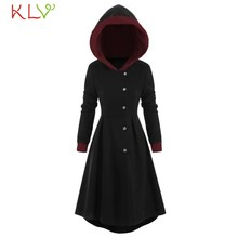 Women Jacket Hooded Cloak Plush Warm Long Winter Coat Button Vintage Casual Outwear Clothes Plus Size Manteau Femme 5XL 19Oct(China)