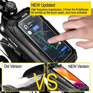 Image 2 - WILD MAN New Bike Bag Frame Front Top Tube borsa da ciclismo custodia per telefono impermeabile da 6,6 pollici borsa Touchscreen pacchetto MTB accessori per biciclette