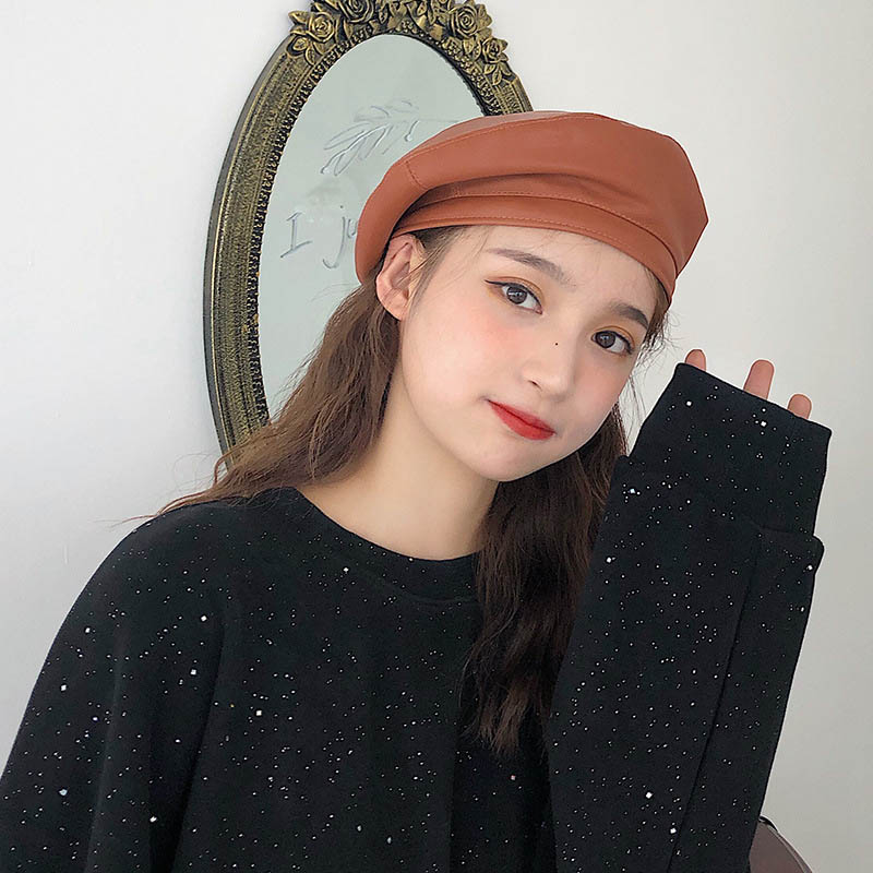 2020 New French Retro Style PU Leather Solid Color Painter Cap Fashion Simple Millinery Accessories Beret Beanie Hat For Women