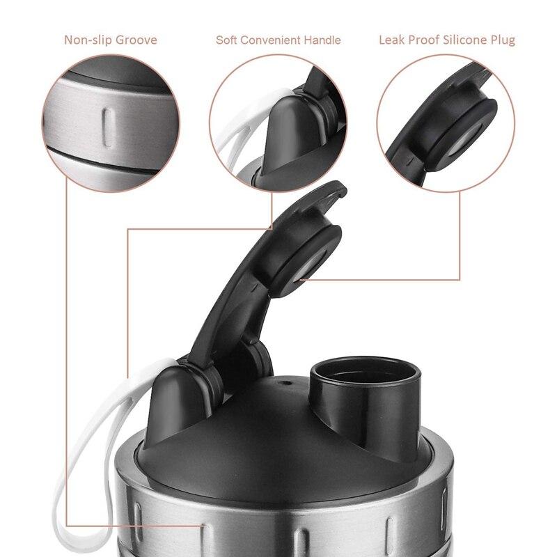 Protein Shaker Bottle, Stainless Steel Sports Water Bottle Shaker Cup, Leak Proof, BPA Free
