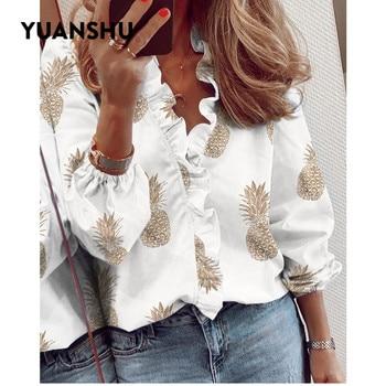 YUANSHU Women Long Sleeve Shirts Tops Ruffles Neck Office Lady Blouse Print Shirt Loose Top Streetwear Shirts Women ethnic plunging neck long sleeve print blouse for women
