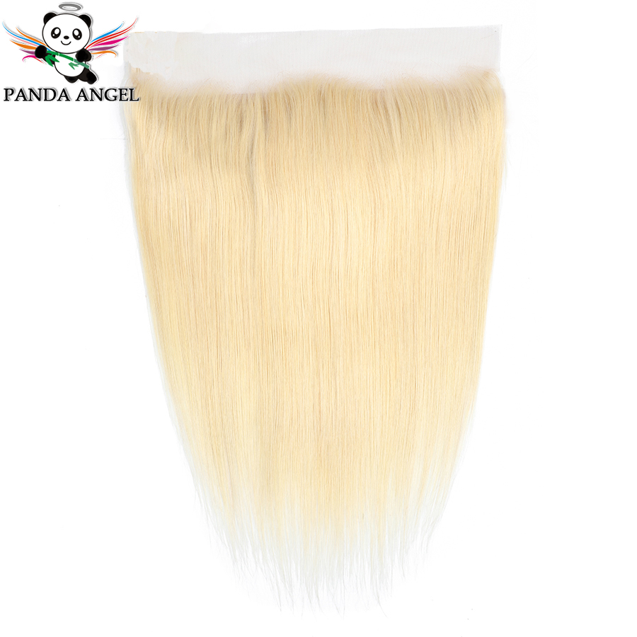 613 Blonde Brazilian Straight Lace Frontal Closure 13*4 With Baby Hair Middle/Free/Three Part Remy Human Hair Lace Closure Panda image