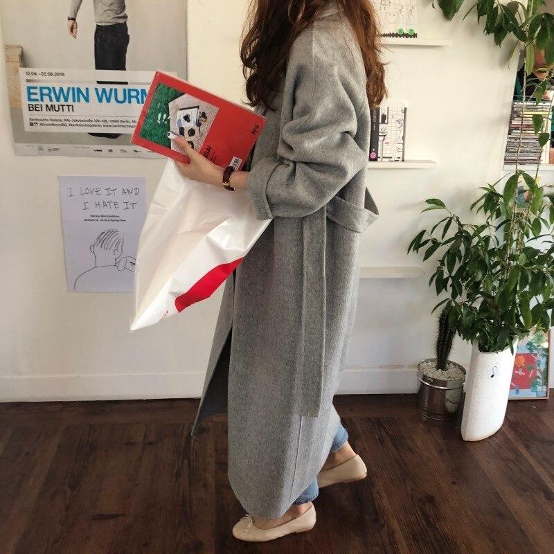 19 Winter Oversize Long Trench Coat Women Cashmere Coat Korean Lady Windbreaker Outwear Streetwear 35