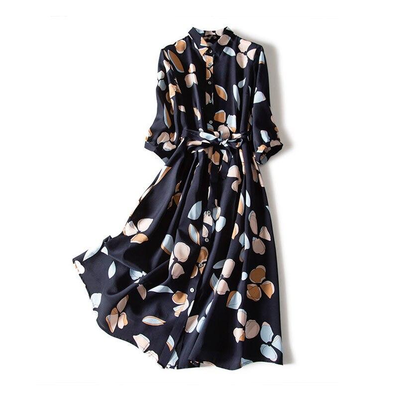 Chiffon print dress women retro waist three-quarter sleeve shirt dress loose piece bohemian dress 5