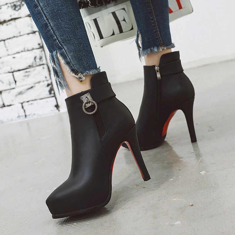 ANNYMOLI Kış yarım çizmeler Kadın Botları Kristal Platformu Ince Topuk kısa çizmeler Zip Aşırı Yüksek Topuk Ayakkabı Bayanlar Sonbahar Boyutu 43