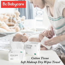 BC Babycare 100pcs/Box Wipes Discharge Makeup Dry Wipes Towel Swabs Skin Cleaning Care Wet Dry Dual-Purpose Soft Cotton Tissue