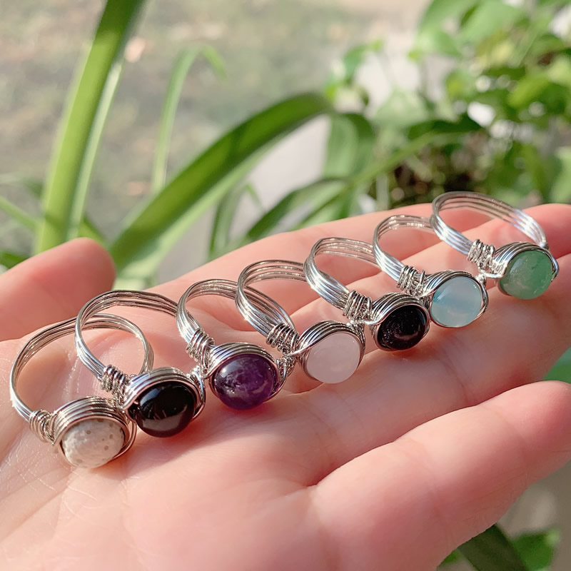 Wire Wrapped Crystal Rings Reiki Healing Stone Natural Amethysts Agates Pink Quartz Fashion Women Rings Party Wedding Jewelry