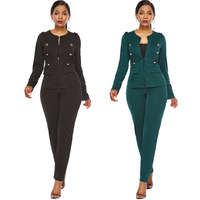 Women's sets suits green black color full length European and American style fashion elegant suits for women