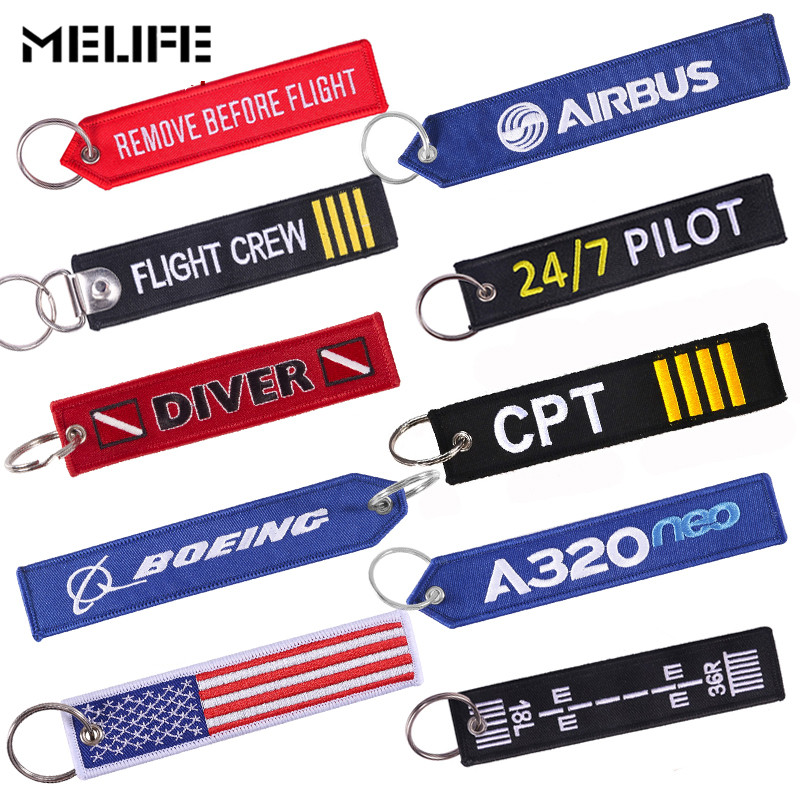 MELIFE Outdoor Climbing Accessories Keychain Remove Before Flight Car Keychains Berloques Red Embroidery Highlight Key Fobs