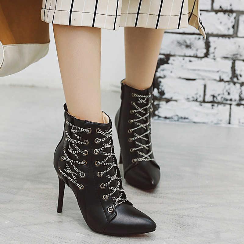 Пикантные ботинки на высоком каблуке 10 см; Модные женские ботильоны с острым носком на шпильке с цепочкой; женская кожаная обувь; Zapatos De Mujer; большие размеры