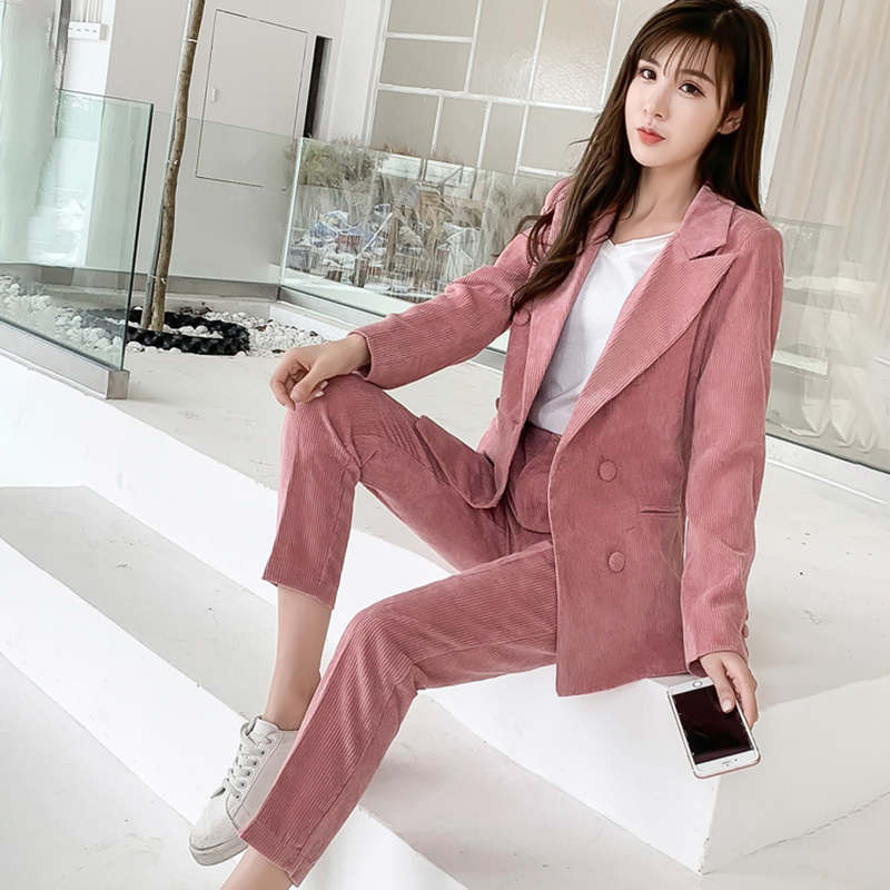 Pink Corduroy Pant Suits 2 Two Piece Set Women Striped Blazer And Pants Suit Trouser Plus Size Jacket Outfits Office Lady Suit