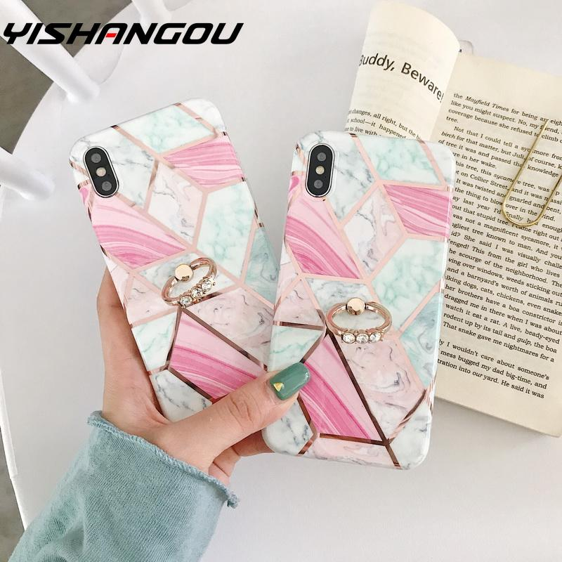 For iPhone Xr X 6 7 Plus 8 Plus 10 X XS MAX Fashion Marble <font><b>Loop</b></font> <font><b>Ring</b></font> <font><b>Phone</b></font> <font><b>Cases</b></font> For iPhone 7 6S Soft IMD Silicon Cover Stand image