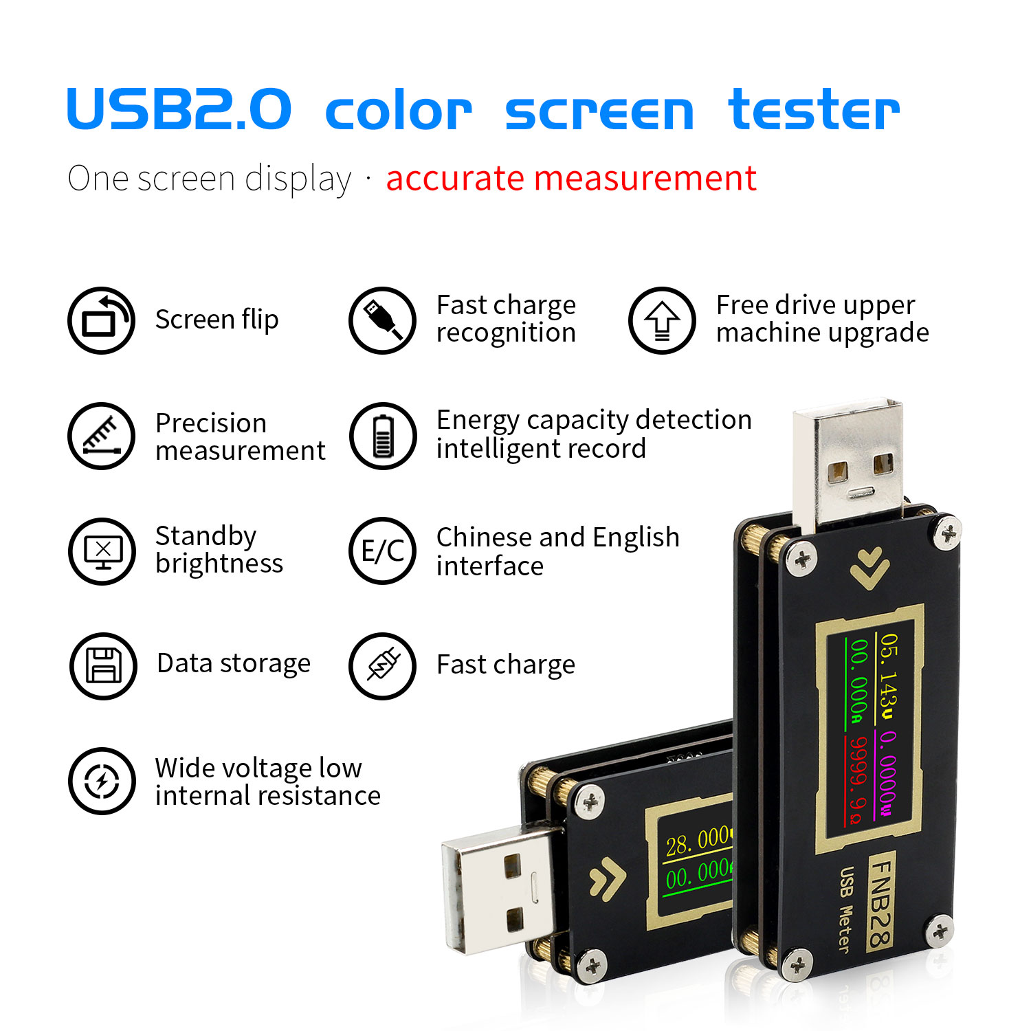 FNB28 Current And Voltage Meter USB Tester QC2.0/QC3.0/FCP/SCP/AFC Fast Charging Protocol trigger Capacity Test|Voltage Meters| - AliExpress