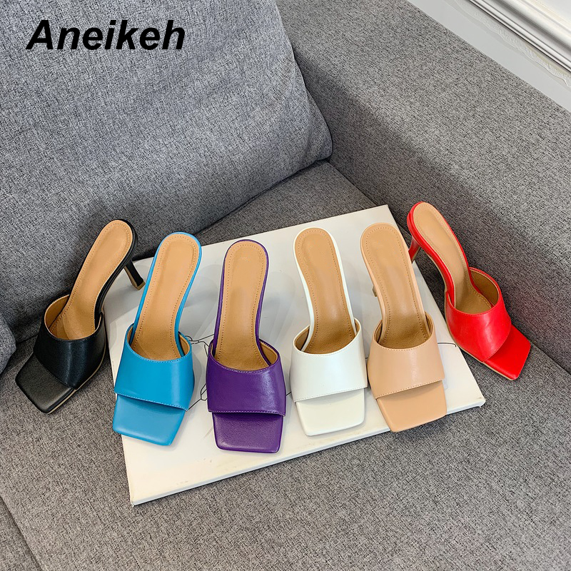 Aneikeh NEW 2020 Summer Fashion Square Head Slides Women Thin High Heels Sandals Slippers Elegant Ladies Mules Party Dress Pumps