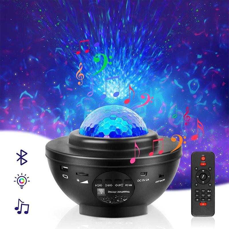 Светодиодный проектор звезда Галактика океанская волна ночной Светильник ребенок USB Blueteeth музыкальный плеер звезда романтическая проекцио...