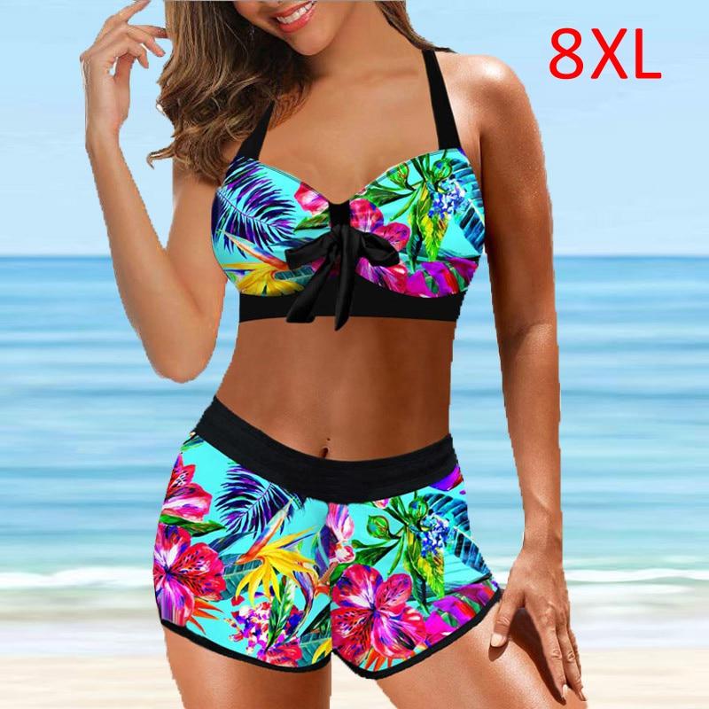 Женское бикини большого размера 8XL, Новое поступление, женские Танкини, комплекты из двух частей, комплекты бикини с юбкой-шортами, купальни...
