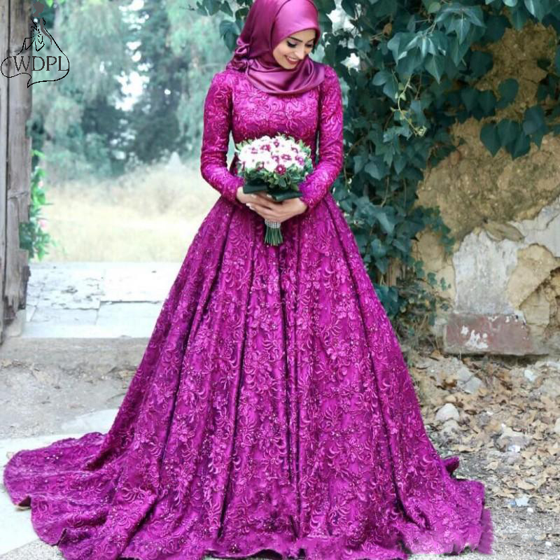 Glamorous A-Line Long   Prom     Dresses   High Neck Long Sleeve Lace Beaded Formal Evening   Dress   2020 Arabia Muslim Engagement Gowns