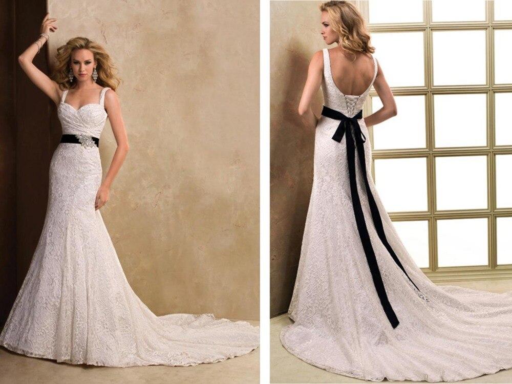 Hot Sexy Black Sashes Crystal Vintage Long Mermaid Lace Wedding Dress 2016 New Design Bow Vestido De Noiva Brides Gown
