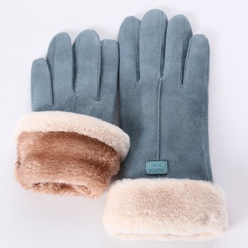 2020 nowe modne rękawiczki damskie jesienno-zimowe śliczne futrzane ciepłe rękawiczki pełne mitenki damskie Outdoor Sport na rękawiczki damskie tanie i dobre opinie Dla dorosłych CN (pochodzenie) WOMEN Poliester Stałe Nadgarstek Moda Womens Solid Full Finger Hand Outdoor Sport Warm Gloves