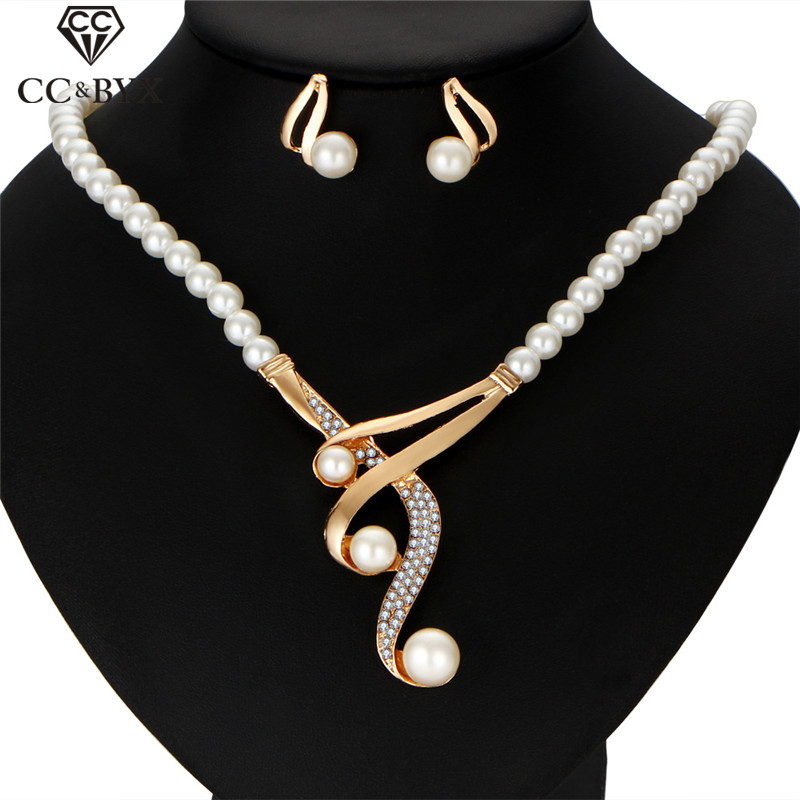 CC Jewelry Sets Women 3pcs Pearl Necklaces Stud Earrings Wedding Accessories For Bride Romantic Party Pendant Alloy Choker YH159