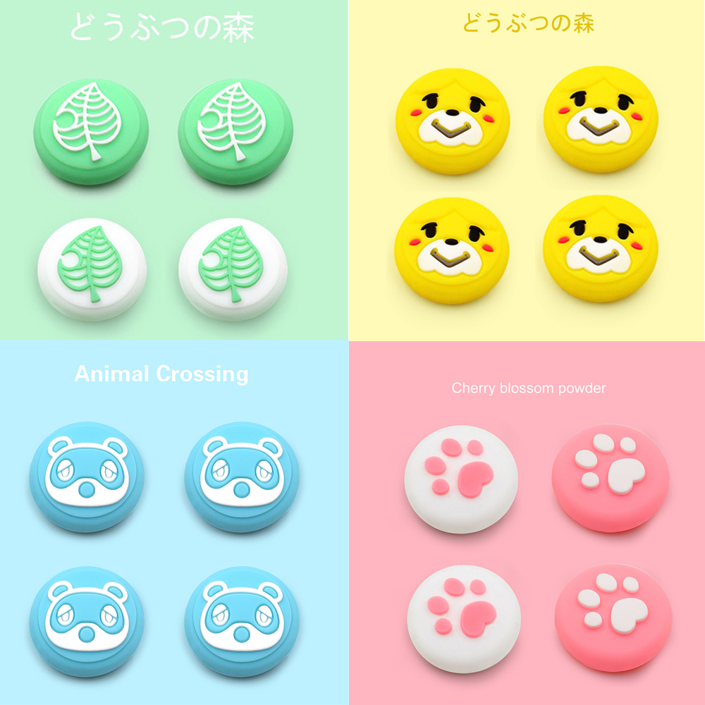 Animals Crosing 4 Pcs Gaming Rubber Thumb Stick Grip Cover For Switch Lite Joycon Controllers Switch Analog Joy Con Joystick