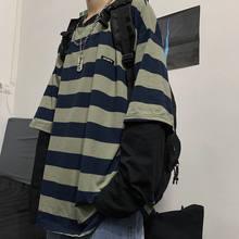 Streetwear harajuku vento escuro camiseta fêmea falso de duas peças listrado de manga comprida camisa fêmea viper feminino 2020
