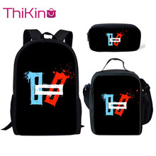 Thikin Twenty One Pilots Pattern 3Pcs Children Fashion School Bag for Boys Backpack Teen Girls Kids Book Bags