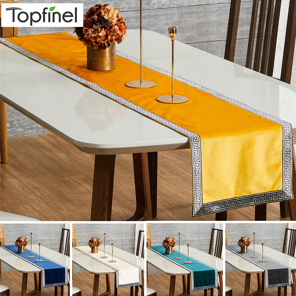 Topfinel Table Runners Soft Velvet Geometric Luxury Bed Runner Cloth Rectangle Modern Dining Table Decoration For Wedding Party