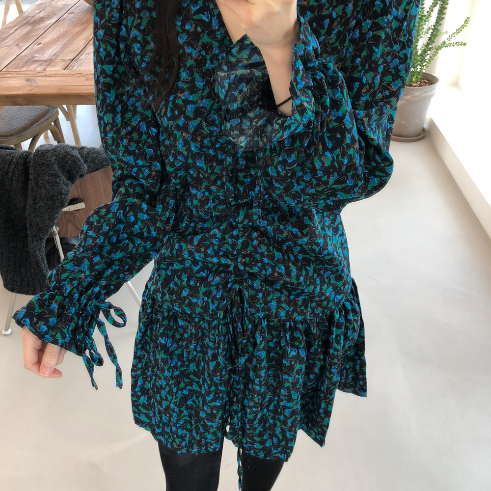 Ha3299c5299864f10802f75ed8955fb8e9 - Autumn V-Neck Flare Sleeves Drawstrings Floral Print Mini Dress