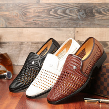 Loafers Shoes Hollow Leather Men Shoes Outdoor Breathable Lazy Harajuku Sneakers Athletic Trainers Walking Driving Footwear new summer genuine leather slip on shoes men casual breathable mesh shoes men loafers mens sneakers casual loafers men footwear