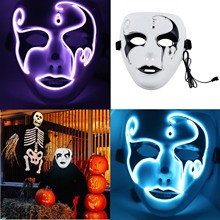 Hot Sale Masks for Halloween Mask Horrific Cosplay Party Costume Masquerade NEON Rave Colorful LED EL Wire + Controller 3V