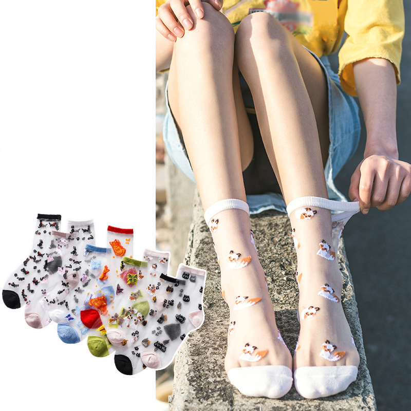 2020 Women Cute Animal Socks Spring Summer Breathable Girl Fashion Thin Glass Silk Transparent Short Socks