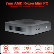 TOPTON Mini PC 7nm AMD Ryzen 7 4800H 5 4600H NVMe komputer do gier Windows 10 Pro 4K Radeon grafika pulpit WiFi6 lepiej niż i9