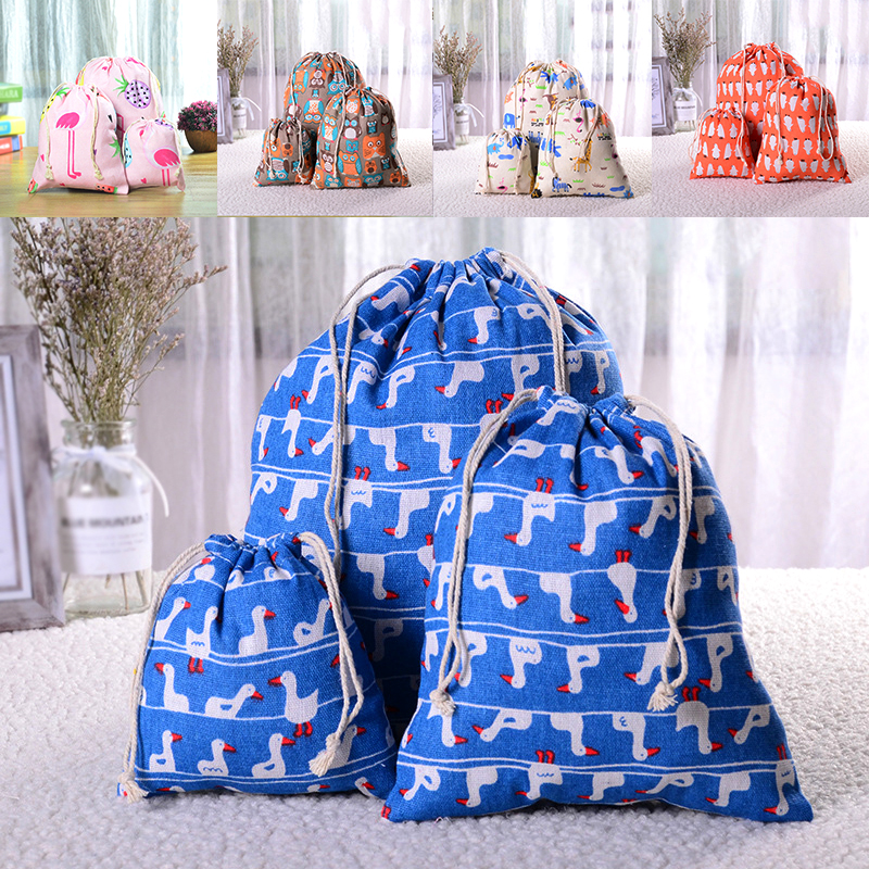 Cartoon Printed Drawstring Shopping Bag Women Reusable Bag Casual Animals Grocery BagCloth Underwear Pouch Home Travel Oganizer