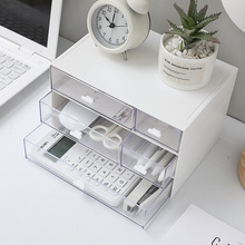 Container Stationery-Organizer Cosmetic-Storage-Box Drawer Clear-Pen Desktop Plastic