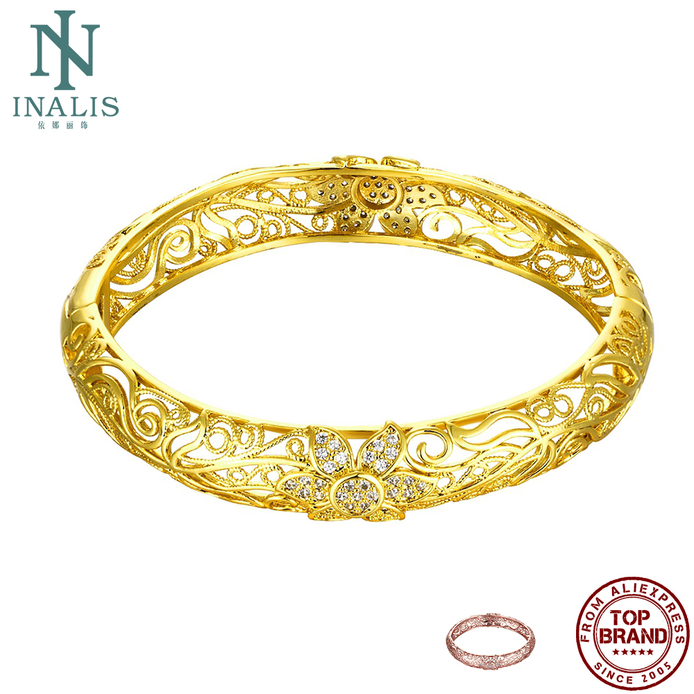 INALIS Noble Bangles For Women Luxurious 5A Cubic Zirconia Carving Pattern Hollow-out Gold And Rose Gold Bangle Senior Jewelry