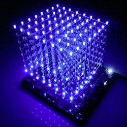 Kostka led 3d 8x8x8 światło nowe przedmioty płytka drukowana nowość nowości niebieski kwadratowy zestaw DIY 3mm Dropshipping 2018 drop ship w Błyszczące oświetlenie od Lampy i oświetlenie na