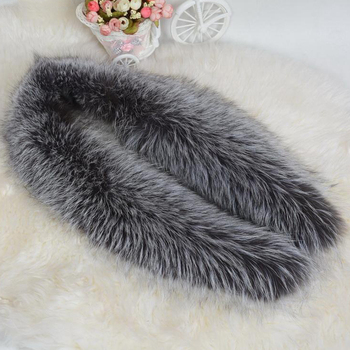 JKP 2019 Silver Fox Fur Collar Real Fur Scarf Winter Warm Fashion Natural Fox Fur Coat Accessory Scarves Luxury Shawl and Wraps image
