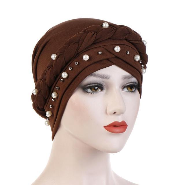 Braid Muslim Milk Silk Forehead Cross Hijab Caps Pearls Turban Hat Headdress Head Wraps Bonnet For Women India Hat Inner Hijab
