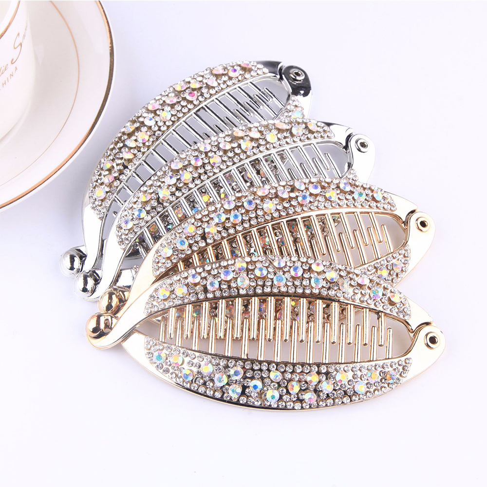 Hair Claws Rhinestone Fish Clip Banana Shape Barrettes Hairpins Hair Accessories For Women Hair Clip Clamp DIY Accessories